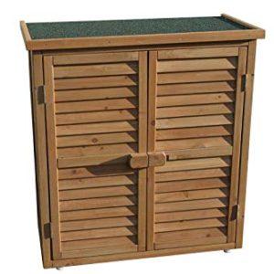 Armadio da giardino o per gli attrezzi, in legno, per uso esterno, colore: naturale