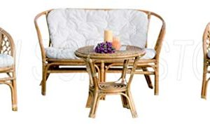 HOMEGARDEN Salotto in Rattan Completo di Cuscini Composto da 4 Pz