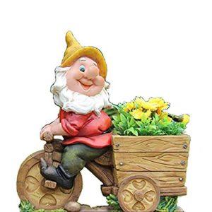 Nano di design con vaso da fiori NF 15156-2 Bicicletta XL 36 cm deco da giardino alto con decorazione figurine per gnome da giardino