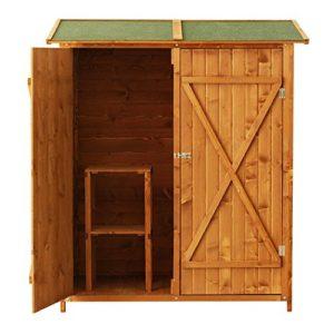 Outsunny Casetta Armadio Casetta per Esterno Porta Attrezzi per Esterno Ripostiglio da Giardino in Legno 160 x 125 x 65 cm