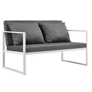 [casa.pro]® Divano da giardino - sofa esterno - 70 x 114 x 60 cm - Mobile da giardino imbottito - Grigio/Bianco