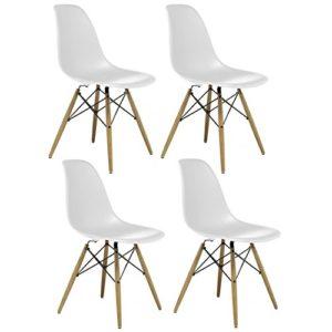 AHOC Charles & Ray Eames Eiffel DSW–Sedia per Ufficio Lounge da Pranzo Cucina in Stile Retro Design in Legno Bianco (4)