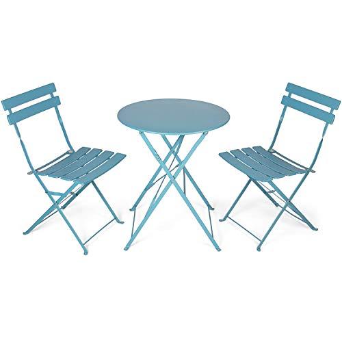 Vanage Set Da Balcone Con Tavolino Da Caffè Pieghevole E Sedie Pieghevoli In Acciaio Arredamento Per Giardino O Terrazza Salotto Esterno In Grigio